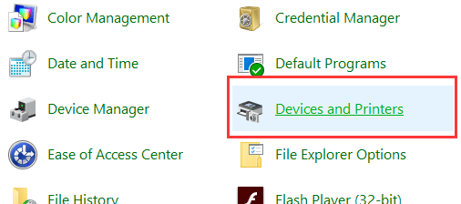 Devices and Printers