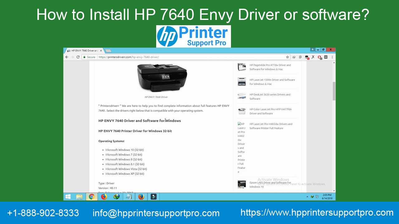 Install HP 7640 Envy Driver or software Call 1-888-902-8333
