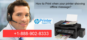 printer showing offline message