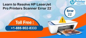 resolve HP LaserJet Pro Printers Scanner Error 22