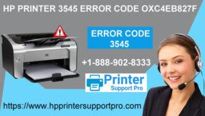 HP Printer 3545 Error Code OXC4EB827F