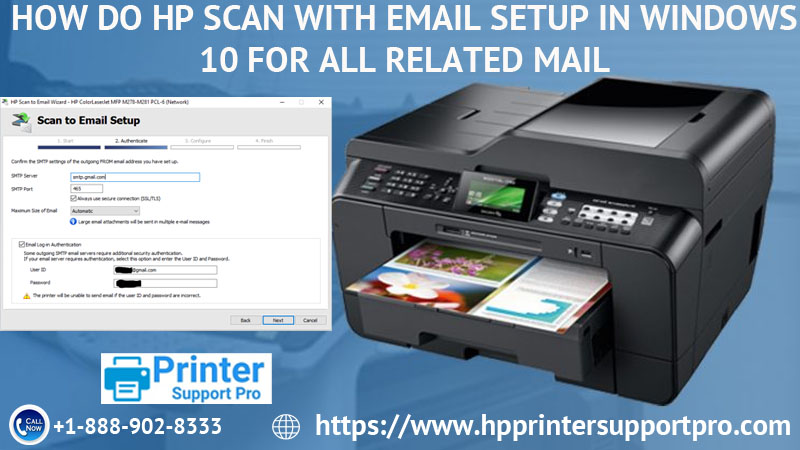 HP scan with Email setup in windows 10 for all related mail?